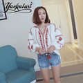 Red Bohemian Blouses Top Autumn New pattern Elegant national wind embroidered Lantern Sleeve Tassels Loose shirt for women a