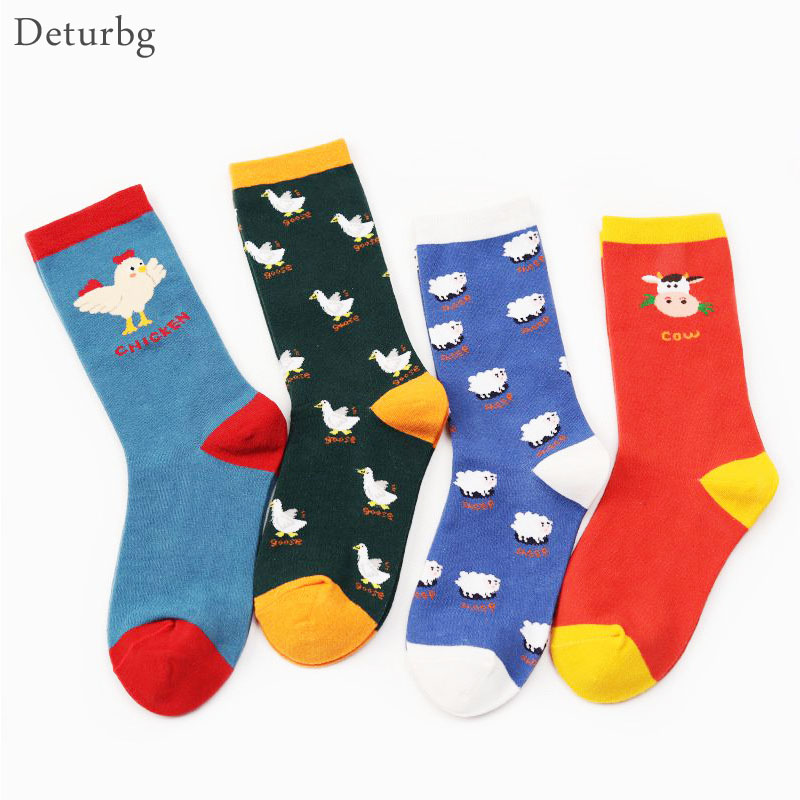 Cute Country <font><b>Socks</b></font> Cotton Red <font><b>Happy</b></font> <font><b>Socks</b></font> <font><b>Unisex</b></font> Casual Cartoon Animal Print Funny <font><b>Socks</b></font> sokken Chick Goose Sheep Cow NW08 image