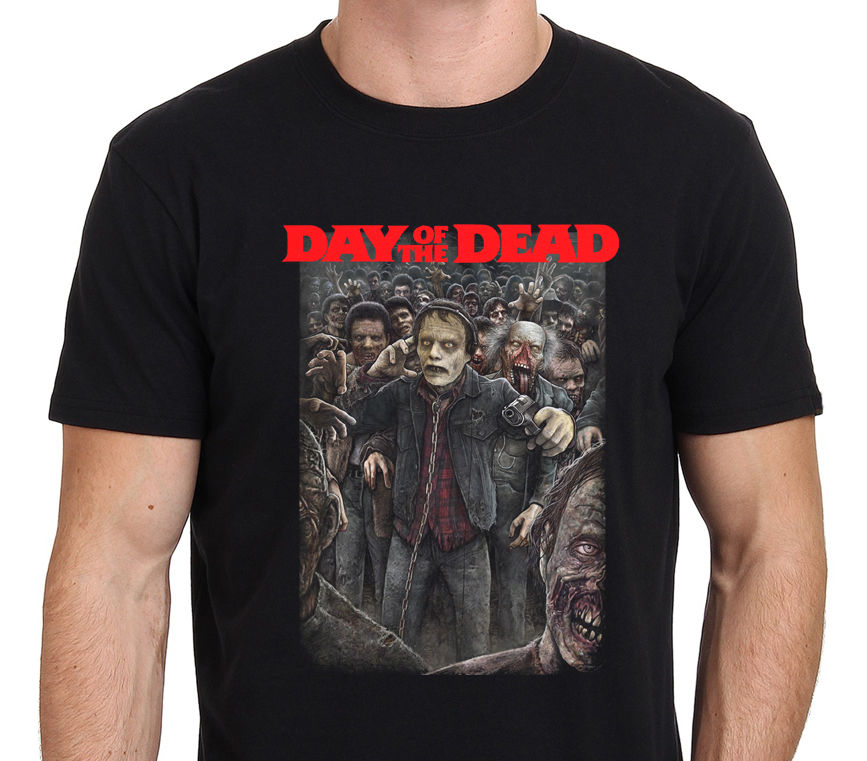 Fun Tee Shirts Day Of The Dead Vintage Movie Zombie O-Neck Men Short Comfort Soft Shirt