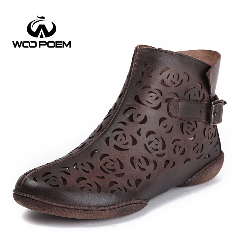 WooPoem Spring Summer Shoes Woman Genuine Leather Boots Low Heel Ankle Boot Handmade Hollow Fretwork Women Boots 5009-1 woopoem brand winter shoes woman genuine leather boots low flat heel ankle boots rivet motorcycle boots retro women boots 510 l1