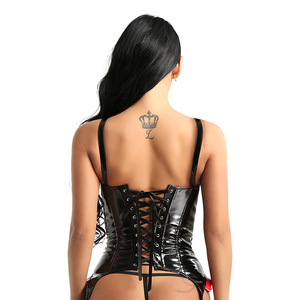 Image 3 - YiZYiF Womens Retro Goth Corsets punk Bustiers Wet look PVC Leather Steel Boned Over bust Tank Top Corsets Women Sexy Bustiers