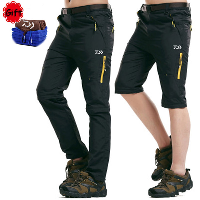 Spring Men Daiwa Fishing Clothing  Outdoor Sports Hiking Climbing Pants Breathable Removable Long Short Fishing Pant Free GiftSpring Men Daiwa Fishing Clothing  Outdoor Sports Hiking Climbing Pants Breathable Removable Long Short Fishing Pant Free Gift