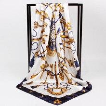 New Scarves For Women Print Silk Fashion Square Head Flower Printed Hijab Female Shawl Wraps Scarfs 90cm*90cm A22