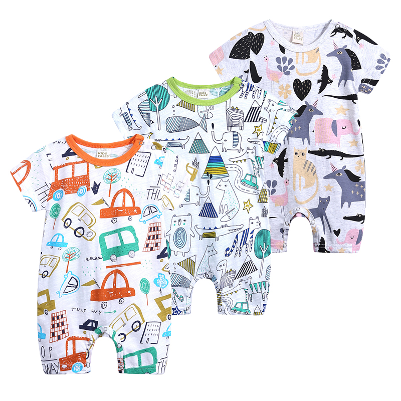 Newborn Baby Jumpsuit 2019 New Summer Short Sleeved Roupa Baby Boutique Clothes Infant Baby Animal   Rompers   Climbing Pajamas