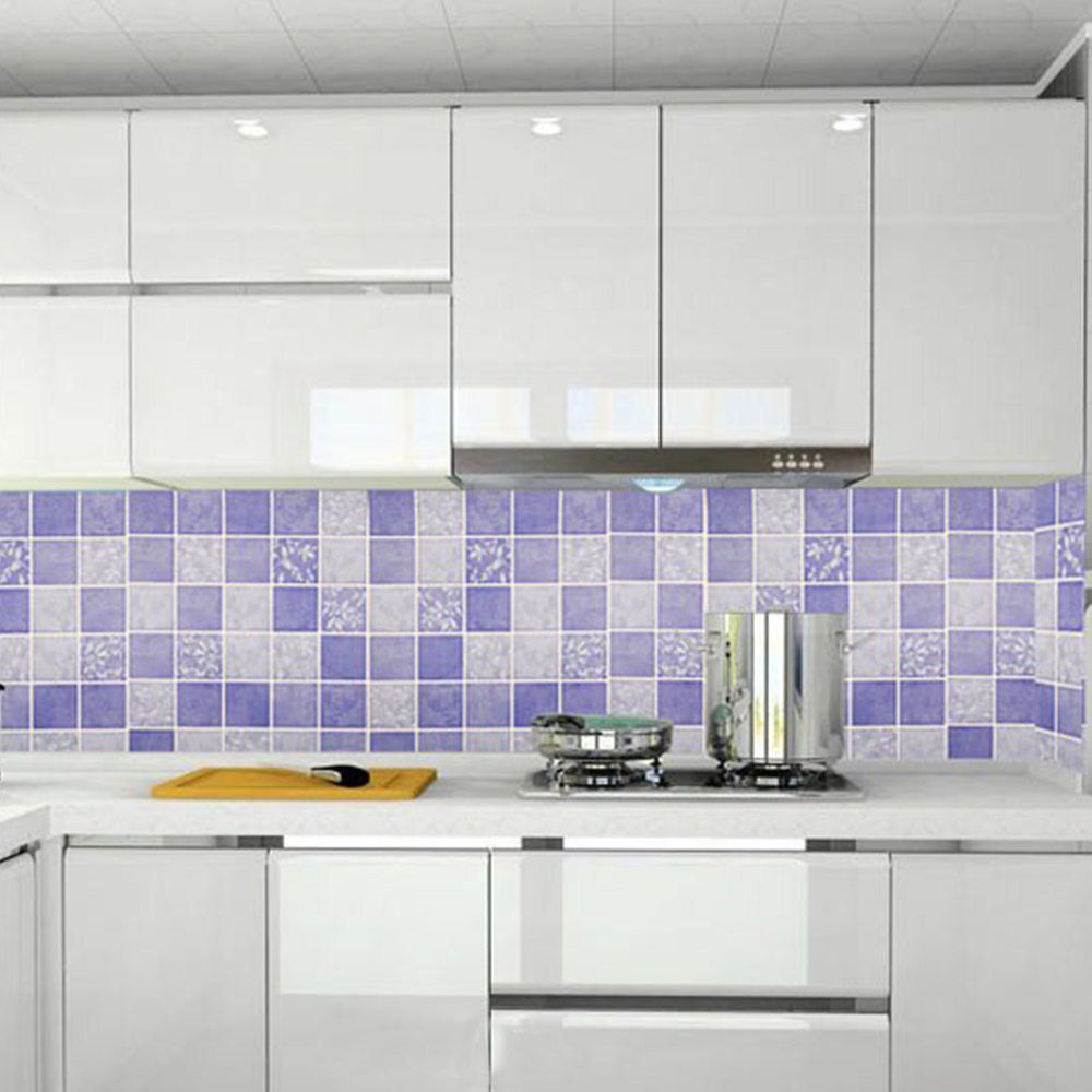 Mosaic application murals application wall panel application kitchen - Yazi Purple Mosaic Printed Roll Grid Wallpaper Mural Waterproof Wall Sticker Decals Home Kitchen Bath Decor