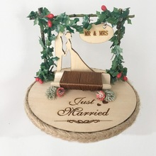 1pcs unique party decoration photo props wood rustic custom double rings holder wedding ring box