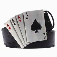 מתכת פאנק רוק חגורה חגורות אבזם הימור מתכת פוקר מזל מזל בסגנון היפ הופ פאנק החגורה דקורטיבית חגורת קלף