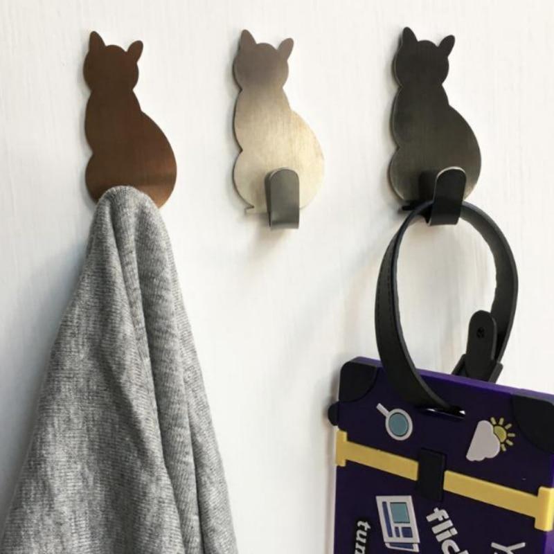 2Pcs Cat-shaped Wall Mount Key Holder Decorative Stainless Steel Keys Hanger Home Decor Hooks