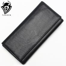 TAUREN New Fashion Men Wallet Genuine Leather Purse Men Long Wallet Purse