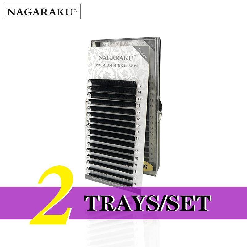 NAGARAKU  2 Trays/set  J B C D Curl  Length 7-15mm Mixed In One Tray Eyelash Extensions Individual Faux Mink Eyelash Lashes
