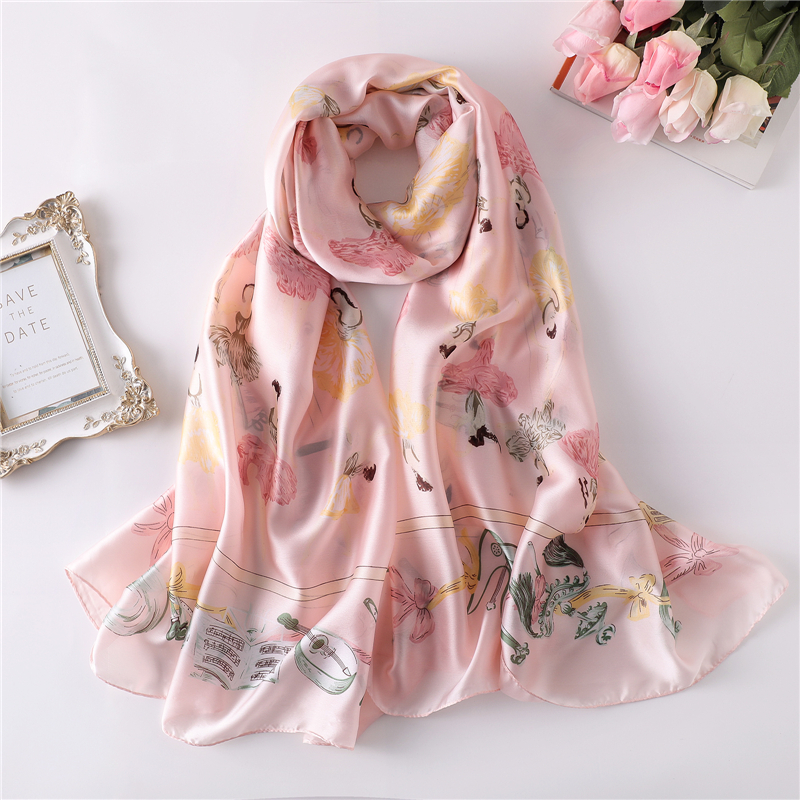 Hot 2019 luxury silk   scarves   for women print soft long size pashmina lady shawls bandana beach stoles hijab   scarf     wraps   foulard