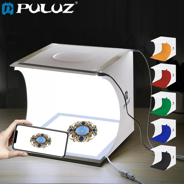 PULUZ Mini 22.5 LED Photography Shadowless Bottom Light Lamp Panel Pad +2LED Panels 20CM lightbox Photo Studio Shooting Tent Box