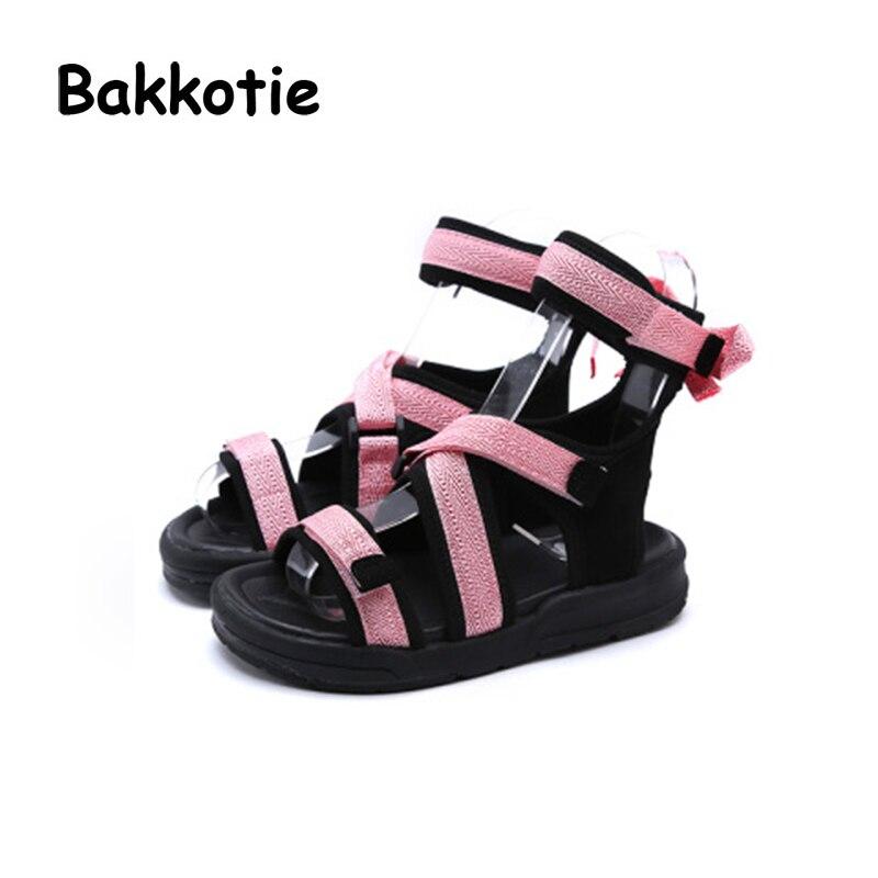 Bakkotie 2018 Summer New Toddler Boy Black Shoe Children Fashion Bow Beach Sandal Baby Girl Red Sport Pu Leather Flat Little Kid keen austin ii c shoe toddler little kid