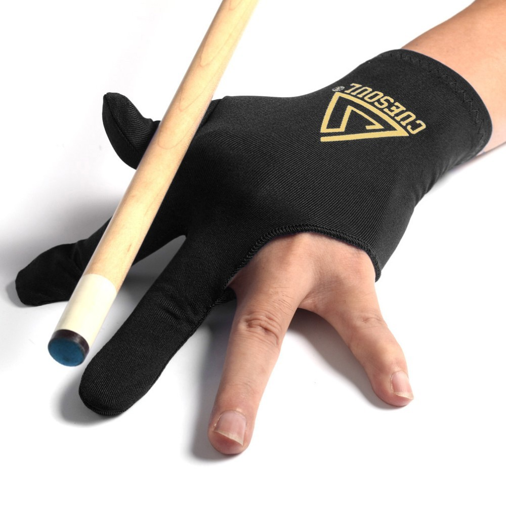 Cuesoul 3 Finger Billiards Snooker Gloves Pool Cue Gloves Black Left Hand
