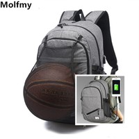 Multifunction Basketball Backpack Man School Bag For Teenager Canvas Ball Pack Soccer Sports Bags Football Net
