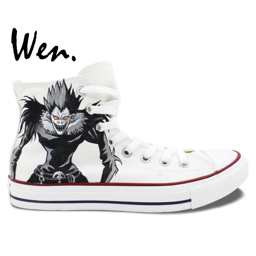 Wen Hand Painted Casual Shoes Custom Design Anime Death Note Ryuuk Rem White High Top Men Women Canvas Sneakers Christmas Gifts купить