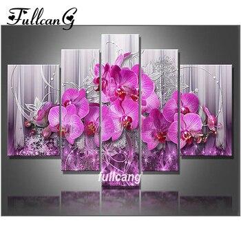 FULLCANG 5 stks Diamant Schilderij Kruissteek Roze Bloemen Multi Foto Diamant Borduurwerk Diy 5D Vierkante Mozaïek F1092