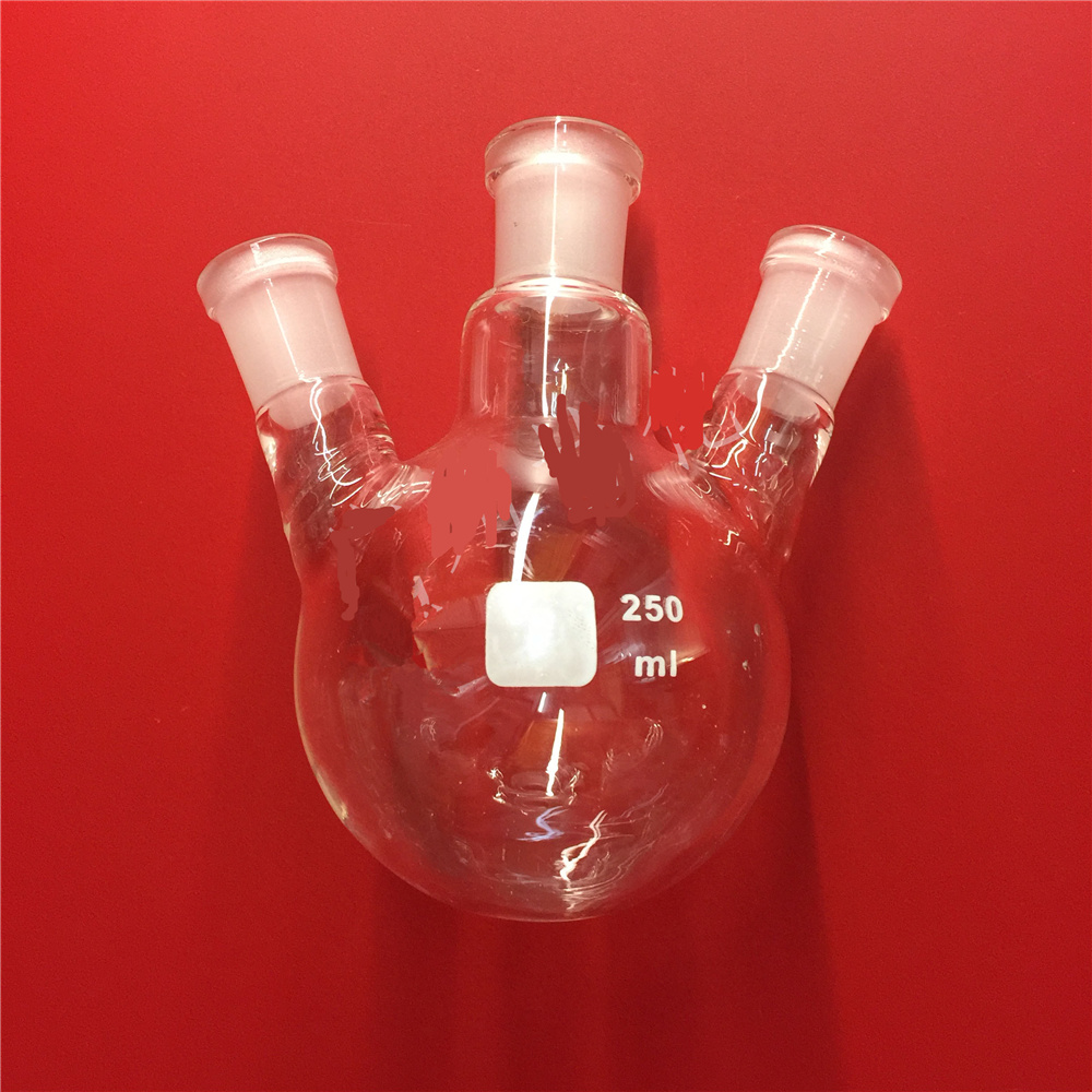 250ml,19/26*3,3-neck,Round bottom straight Glass flask,Lab Boiling Flasks,Three neck laboratory glassware 1pc lot 150ml 250ml 500ml round bottom glass distillation flask for lab glassware