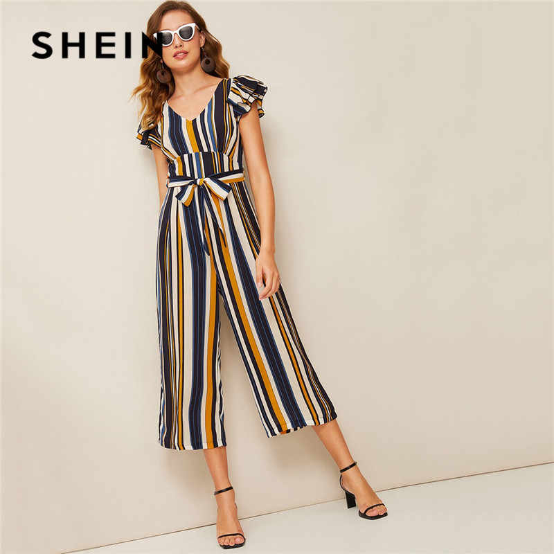 SHEIN Vintage Layered Ruffle Sleeve Striped Wide Leg Jumpsuit Women Clothes 2019 Summer V Neck Belted High Waist Jumpsuit
