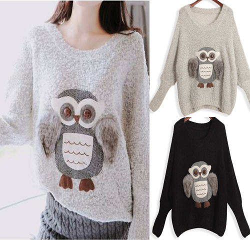 Fashion sweater 2014 women korean casual cute animal owl printed ...