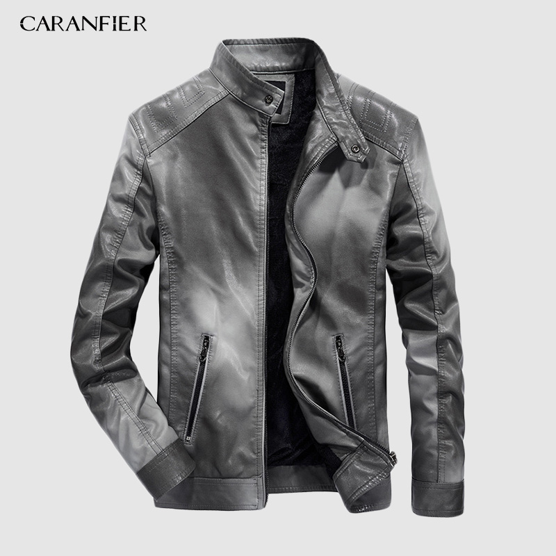 CARANFIER 2019 Men's PU Jackets Coats Autumn Winter Motorcycle Biker Faux Leather Jacket Men Clothes Thick Velvet Coats S-3XL