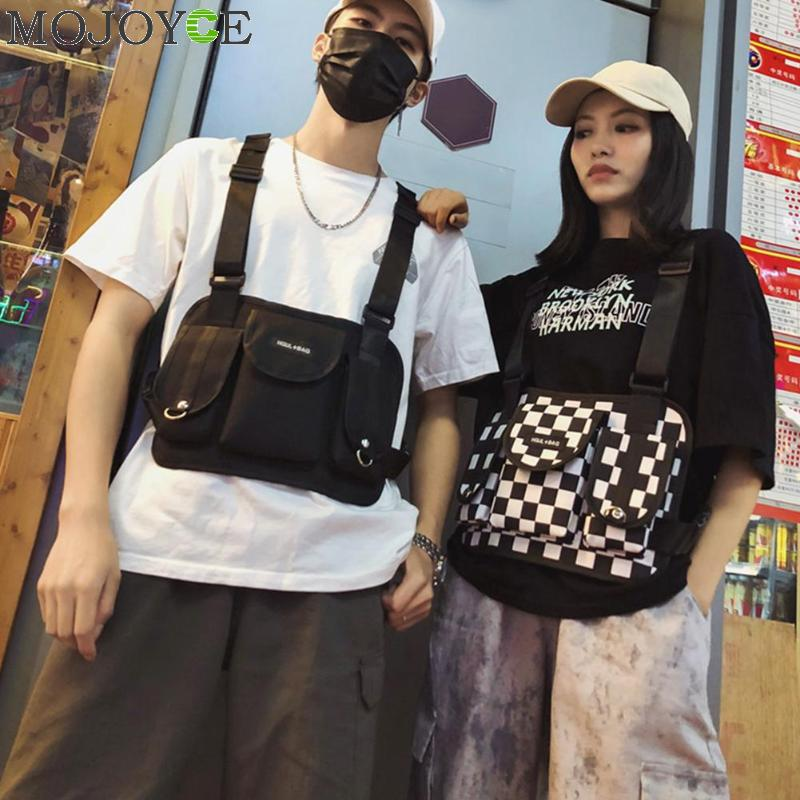 Fashion Black And White Plaid Chest Bag For Men Women Hip Hop Streetwear Men Tactical Chest Rig Vest Wait Packs Bum Bag