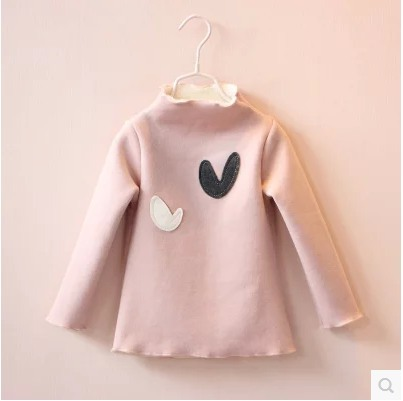 T-Shirt Velvet 2016 Winter New Korean Children Warm Girls Love Children Thick baby boy Kid Clothing Retail and wholesale 151210