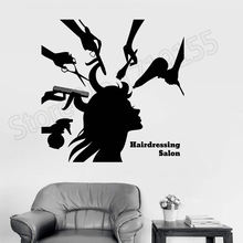 Vinyl Wall Decal Hairdressing Salon Beauty Hair Woman Barbershop Stickers Interior Removable Spa Haircut Mural ZW352