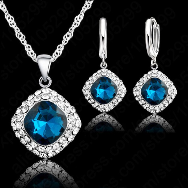 Hottest 925 Sterling Silver Crystal Necklace font b Jewelry b font Set Colorful Crystal Rhinestone Necklace
