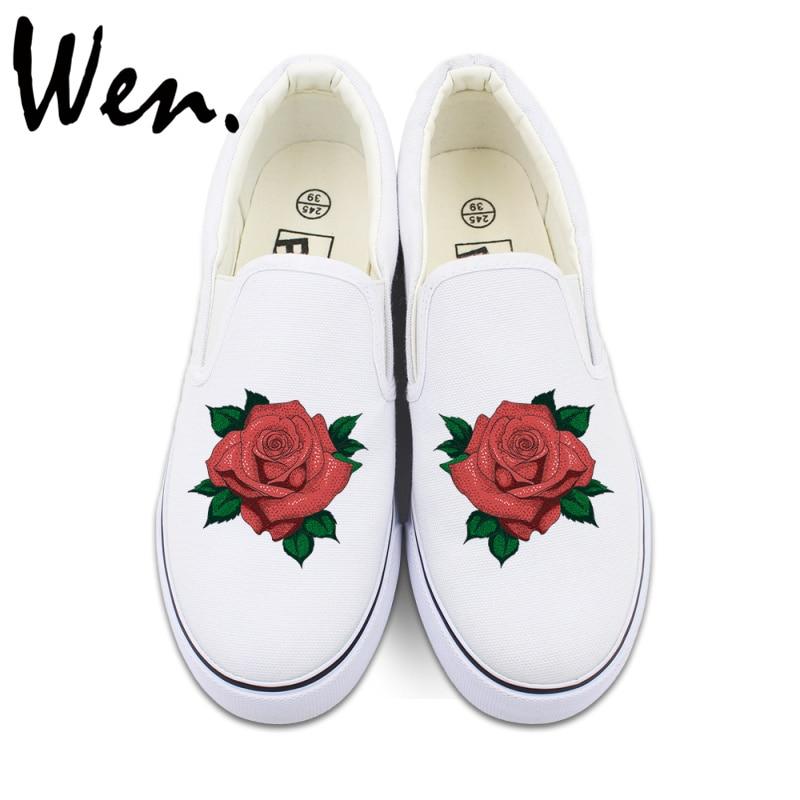 Prix pour Wen Original Floral Glissement Sur Chaussures Custom Design Rouge Rose Fleurs Toile Sneakers Blanc Noir 2 Couleurs Peut Choisir