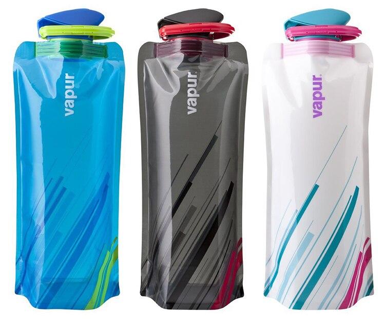 2016 nova tampa superior da aleta 700ml garrafa de água reusável eco amigável personalizado impressão dobrável dobrável garrafa de água # fd56