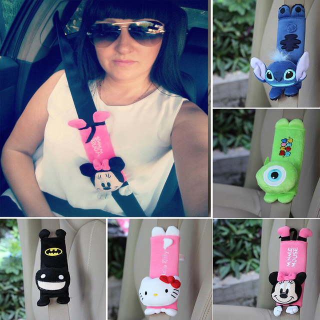 1 Pair Cute Cartoon Car Sefety Seat Belt Cover Child Shoulder Pads Protection Plush