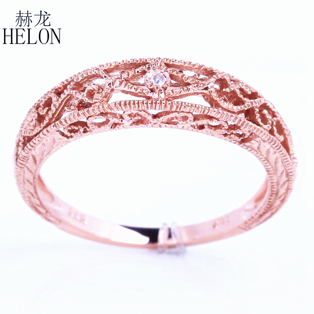 HELON Solid 10k Rose Gold SI/H Diamonds Ring Vintage Filigree Art ...