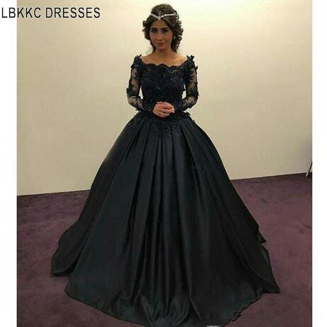 Long Sleeve Lace Satin Ball Gown Black