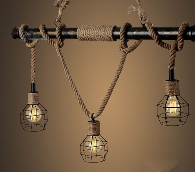 Hanglampen Amerikaanse Landelijke Ijzeren Waterleiding Touw Lamp ...