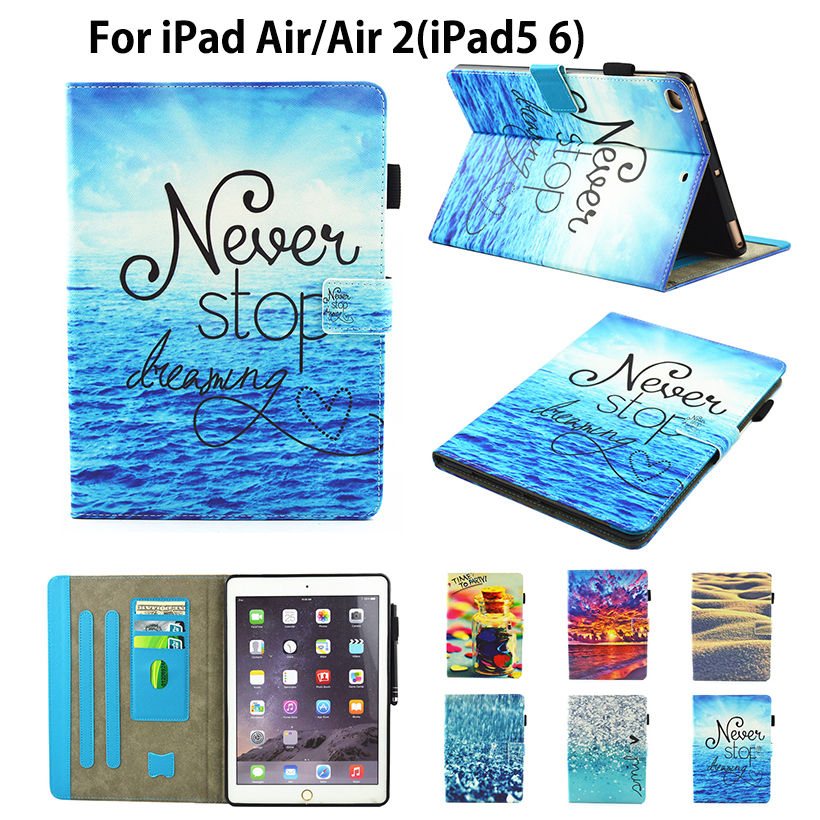 Fashion Painting High Quality Flip PU Leather sFor iPad Air 2 Case For Apple iPad Air 2 iPad 5 6 Smart Case Cover Funda Shell high tech and fashion electric product shell plastic mold