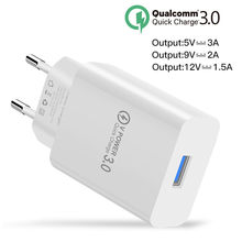 18W USB Phone Charger Quick Charge 3.0 Fast Mobile Phone Charger 5V 3A 9V 2A Travel Wall Adapter for iphone Samsung Galaxy S8 S9(China)