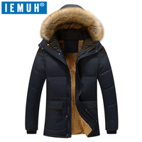 IEMUH Winter Thick Padded Parka Men Jacket Coat Russian Wadded Long Hooded Casual Warm Snow Windbreaker Overcoat Male Jackets