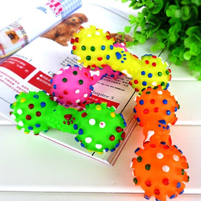 Rubber Dog Toys Colorful Dotted Dumbbell Shaped Squeeze Squeaky Toys for Dog Faux Bone Pet Chewing Toys Dog Products