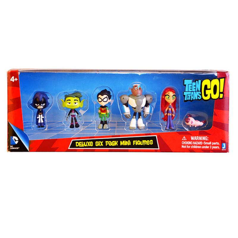 6Pcs/ Set Teen Titans Go Robin Beast Boy Raven Cyborg Starfire Silkie Teen Titans Figure PVC Action Figures Kids Toys Gifts titans hunt