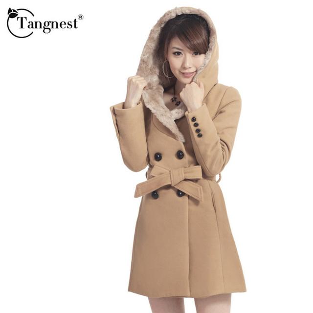 Tangnest foso de las mujeres más el tamaño de estilo británico de moda otoño invierno cálido fuzzy ladies clothing larga casaco feminino wwf412