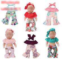 43 cm baby doll Clothes bell-bottom pantsuit toys Dress Hair band fit American 18 inch Girls f715