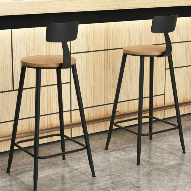 American Bar Stool Modern Minimalist Bar High Chair Solid Wood Retro High Stool Wrought Iron Bar Stool(China)