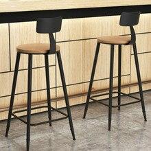 Американский барный стул современный минималистичный высокий барный стул из твердой древесины Ретро высокий стул из кованого железа барный стул