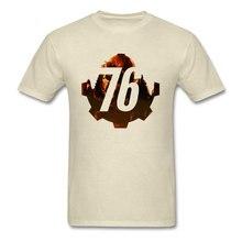 Men T-shirt Military Fallout 76 Tshirt 2019 Funky RPG Gamer T Shirts Cotton Beige Tops Great War New Vegas Tees Summer