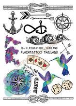 A6080-205 Big Black Tatuagem Taty Body Art Temporary Tattoo Stickers Anchor Compass Around The World Glitter Tatoo Sticker