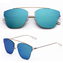 Women Sunglasses 2017 New Design Fashion Metal Frame Classic Reflective Sun Mirror Sunglasses Eyewear Cat Eye Glasses Gafas