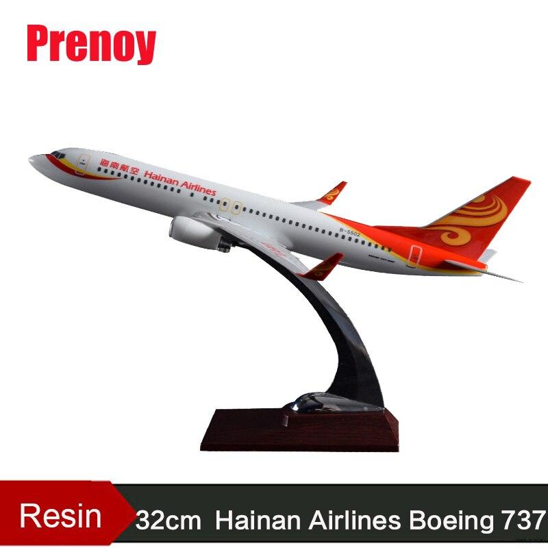 32 cm modèle d'avion en résine B737 Hainan Airlines modèle d'avion Boeing 737 avion chine Hainan Airways modèle d'aviation Stand Craft