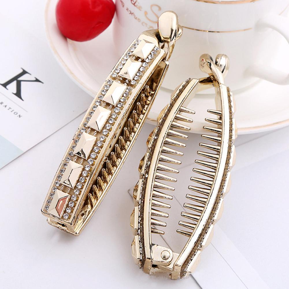 Xugar Hair Accessories Banana Hair Clips For Women Hair Clip Ladies Shinny Elegant Gold Plastic Hairpins
