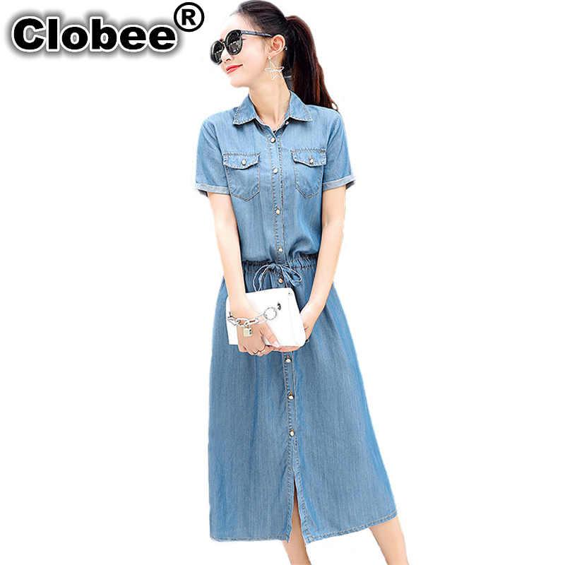 Clobee יחיד חזה מקסי ארוך 2019 ג 'ינס שמלת חולצה גבירותיי משרד שמלת קיץ החוף הקיצי נשים Midi ג' ינס חולצה שמלה